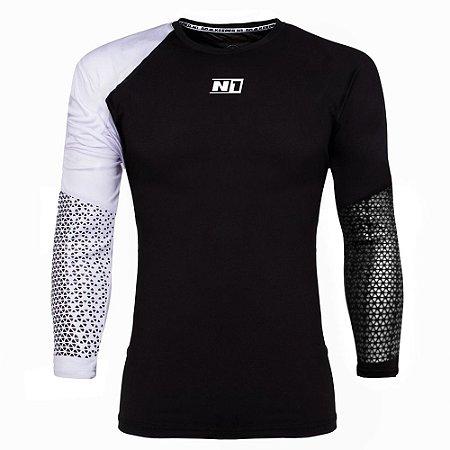 Camisa de Goleiro N1 Preta e Branca