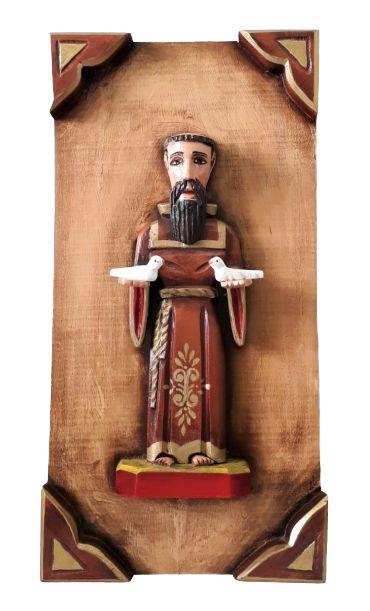 Quadro de São Francisco de Assis em Madeira. 50cm