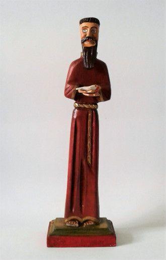 São Francisco de Assis em Madeira com Pássaro. 25cm