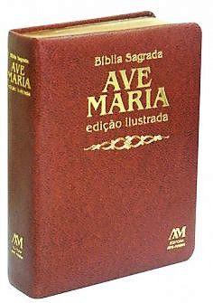 Bíblia Sagrada Ilustrada Luxo. Média. Cor Marrom