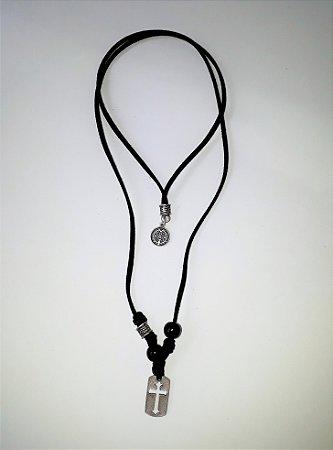 Colar Jovem Cristão de Couro Preto, Cruz Prata Velha com Medalha. Unissex. 40cm