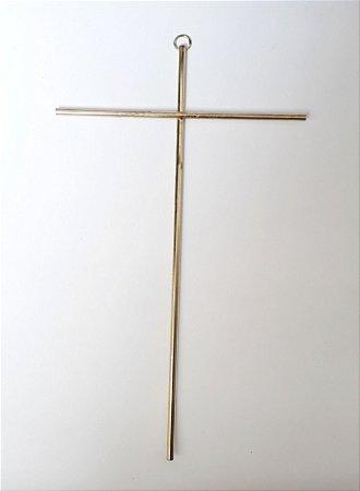 Cruz de Parede Dourado. Medida 28X17cm