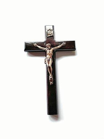 Crucifixo de Parede em Madeira. Cristo em Metal. Verniz Alto Brilho. 12cm