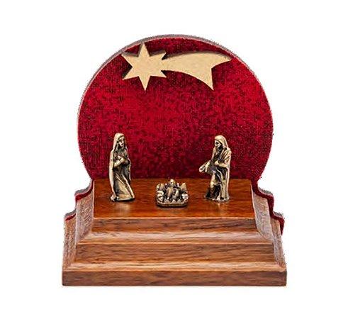 Mini Presépio de Natal. Madeira, MDF, Tecido e Metais em ouro velho. 3,8x4,7x5cm. Cor Vermelho