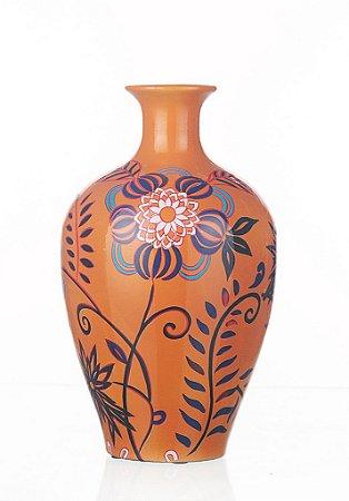 Vaso de Cerâmica Floral - 33x20 cm
