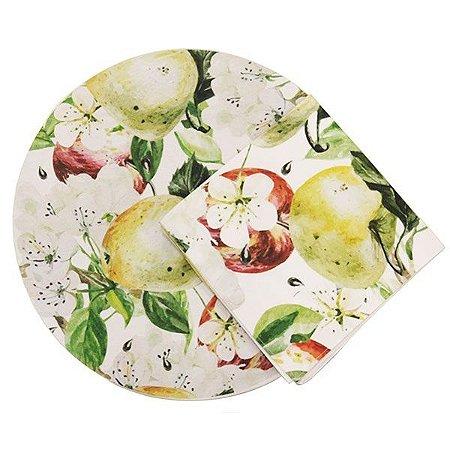 Sousplats com Guardanapos de Tecido Estampado Frutas e Flores