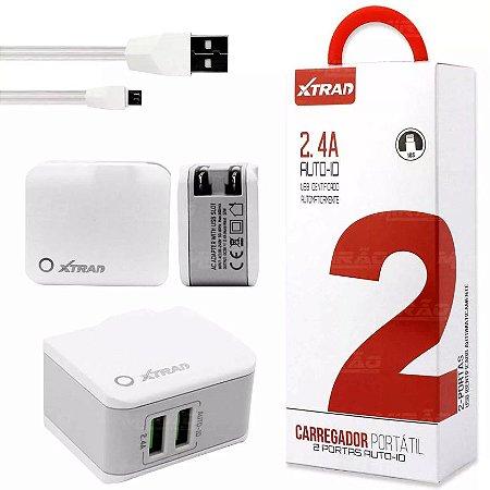 CARREGADOR INTELIGENTE PORTATIL 2 USB PORTAS AUTO-ID 2.4 A  + CABO LIGHTNING IPHONE - A1022