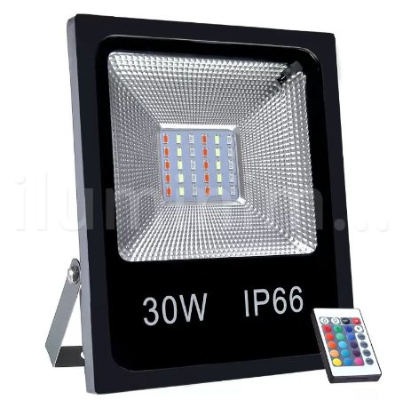 REFLETOR HOLOFOTE LED RGB SMD 30W COM CONTROLE