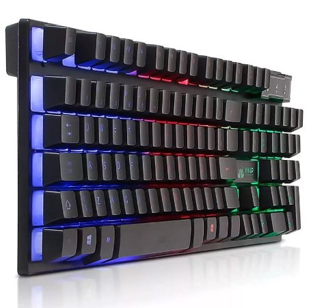 TECLADO GAMER LUMINOSO LED PC SEMI MECÂNICO NEON USB KNUP KP-2043