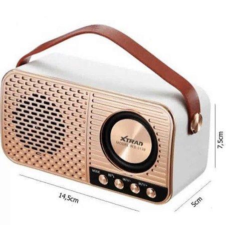 CAIXA DE SOM RETRO XTRAD BLUETOOTH TF USB FM WS-3138 - XTRAD
