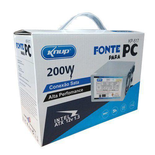 FONTE PARA COMPUTADOR ATX 200W KNUP KP-517
