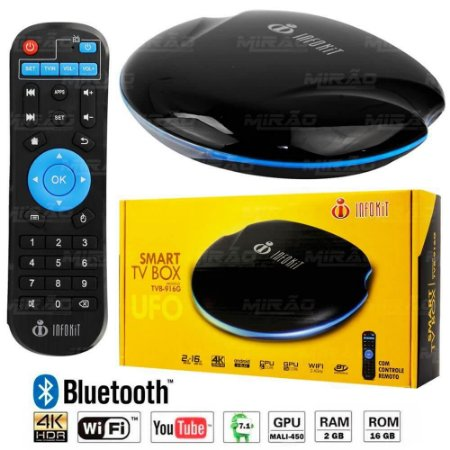 TV BOX QUAD-CORE 2GB 16 GB 4K / HDMI / WI-FI BLUETOOTH ANDROID S905X LED UFO - INFOKIT TVB-916G