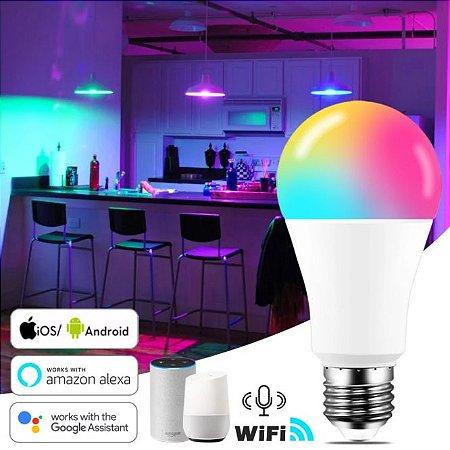 LAMPADA INTELIGENTE SMART WIFI 15W BRANCO FRIO + RGB - ALEXA GOOGLE HOME
