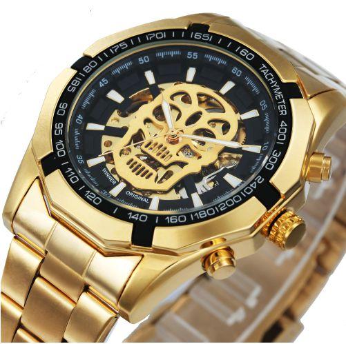 Relógio Dourado Skeleton