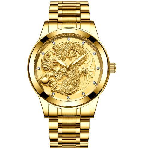 Relógio Dourado Tevise Dragon