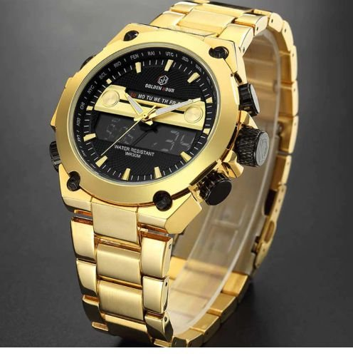 Relógio Dourado Golden Hour Rico