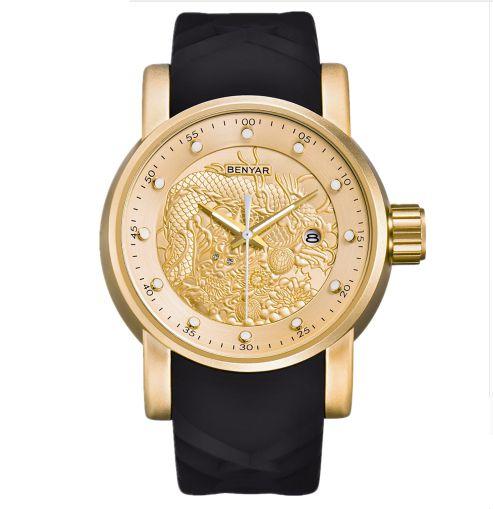 Relógio Dourado Benyar Dragon