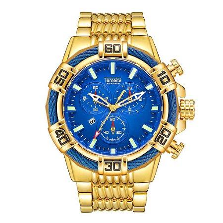 Relógio Dourado Temeite Blue