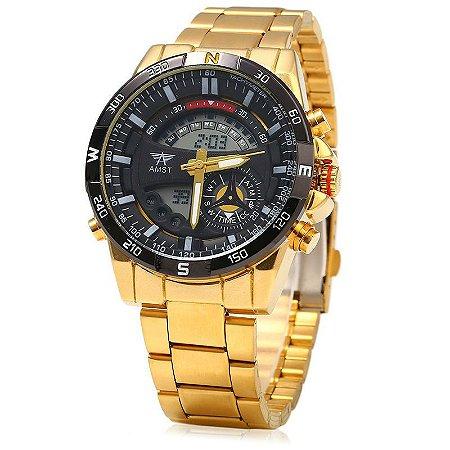 Relógio Dourado Amst Black