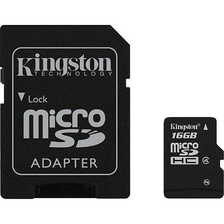 Cartão de Memória Kingston Micro SDC4/16GB SDHC de 16GB com Adaptador - Preto