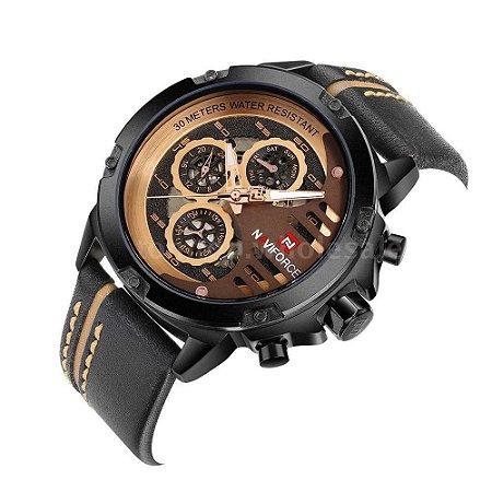 916ebb410ee Relógio Naviforce Fashion Army - Quartz masculino luminoso pulseira couro  esportivo