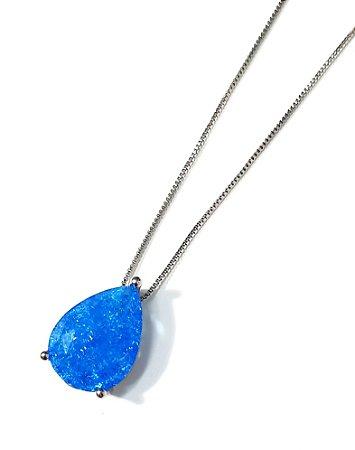 Colar Gota Resina Azul
