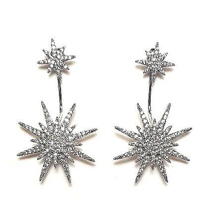 Brinco Duo Star Silver