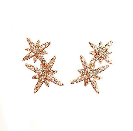 Brinco Duo Star Ouro Rosa