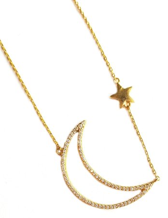 Colar Longo Star Moon Gold