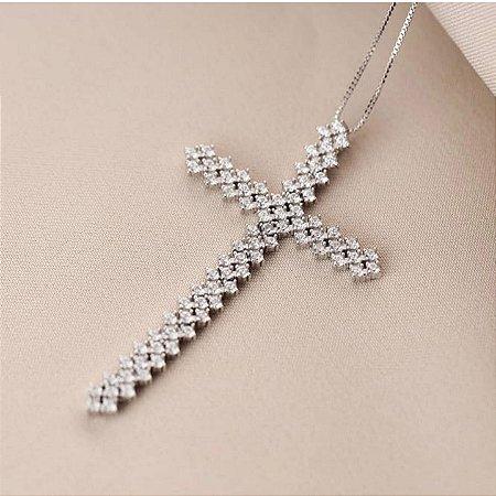 Colar Cruz Maleável Cravejada Silver
