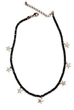 Colar Chocker Cristais Swarovski Black c/ Estrelas Gold