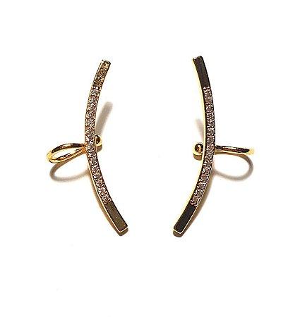 Brinco Earcuff/ Piercing Curva Gold
