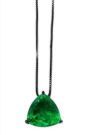 Colar capsula esmeralda fusion Rodio Negro