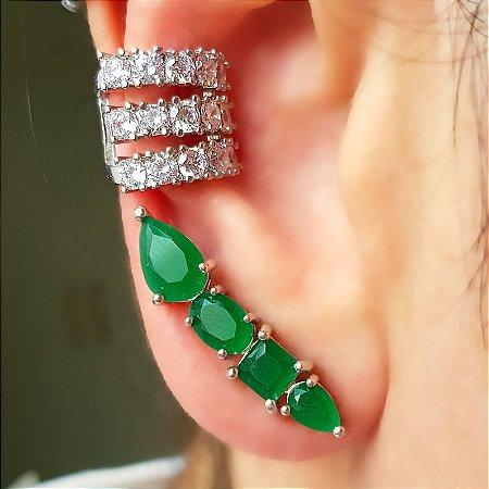 Brinco Earhook Form Esmeralda