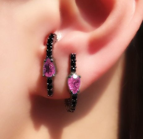 Brinco Earhook Gota Pink FUSION X Ônix