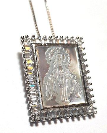 Colar Nossa Senhora Madre Pérola Cravejada Silver