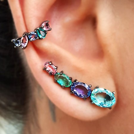Brinco Earcuff Bools Colors Conti