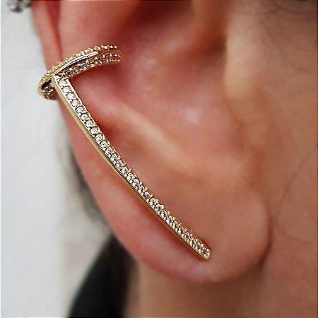 Brinco Earcuff Gold com piercing Cravejado