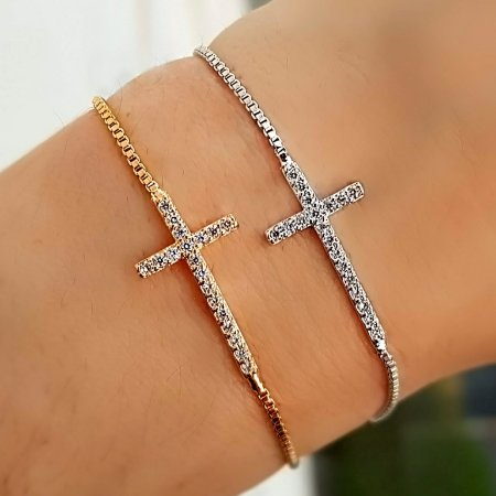 Pulseira Mini Cruz Cravejada Silver