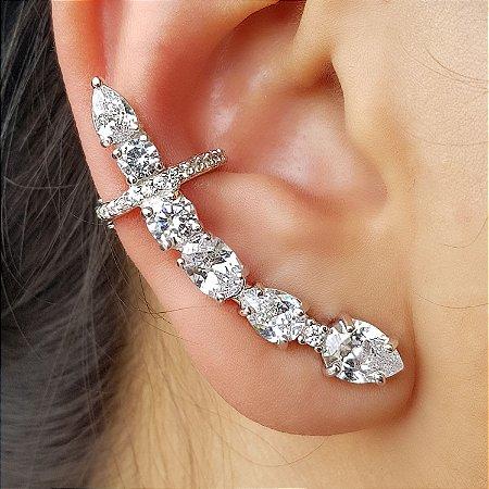 Brinco Earcuff Diamond Gotas x Bools Conti Silver