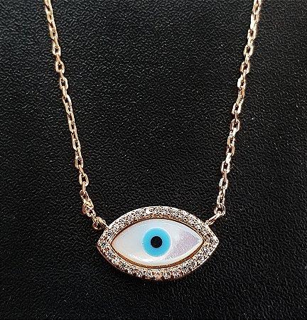 Colar Olho Grego Cravejado Gold