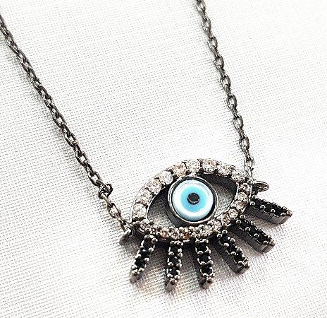 Colar Olho Grego Cílios Cravejados Rodio Negro