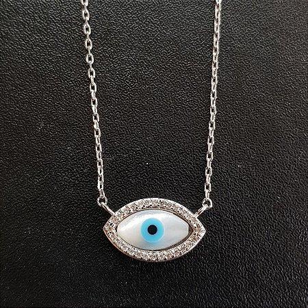 Colar Olho Grego Cravejado Silver