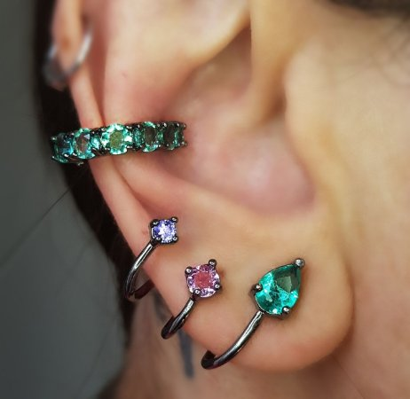 Brinco Earcuff Trio Colors