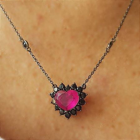 Colar Coração Pink x Ônix