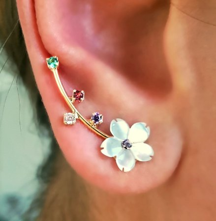 Brinco Earcuff flor colors