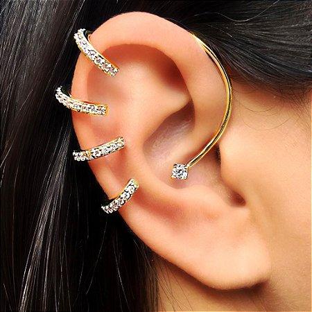 Piercing Earhook 4 elos Cravejados de encaixe Gold