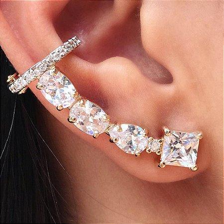 Brinco Earcuff Diamond Form Gold