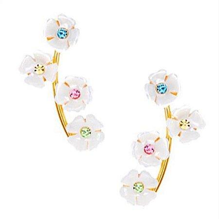Brinco Earcuff cachos flowers colors