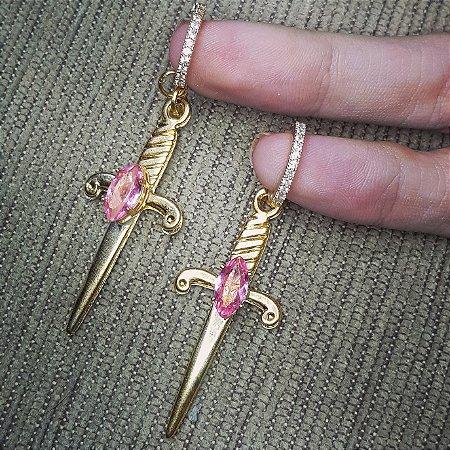 Brinco espada x kunzita rosa